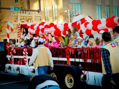 A festive float at Big Jingle Jubilee Holiday Parade