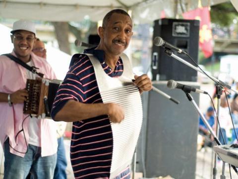Musicien jouant du washboard au Cane River Zydeco Festival, un festival célébrant la musique zarico