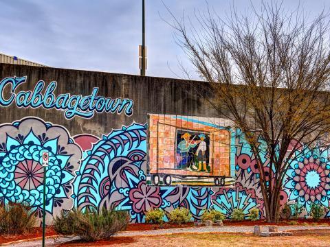 Wandgemälde im Viertel Cabbagetown von Atlanta, Georgia