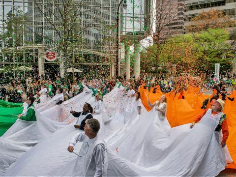 Irische Kultur bei der Parade zum St. Patrick's Day in Atlanta