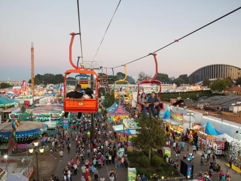 A skyride at the North Carolina State Fair in Raleigh